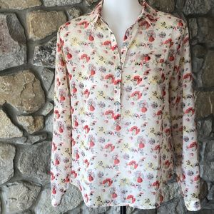 Tan and coral flower print blouse